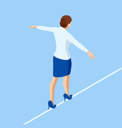 Isometric business woman tightrope walker is on vector