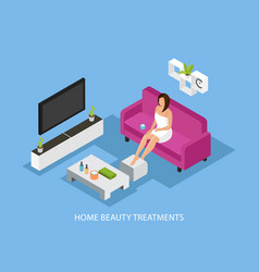 isometric home skincare procedure concept vector image