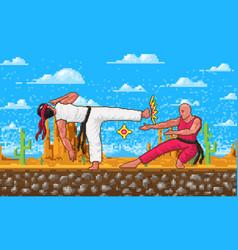 Japanese karate pixel art 8 bit characters vector