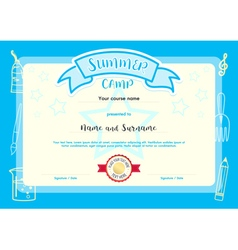 Kids summer camp document certificate template vector