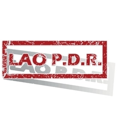 Lao PDR outlined stamp vector