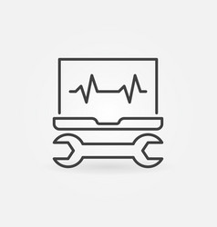 Laptop with wrench line icon computer vector