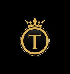 letter t royal crown luxury logo design vector image