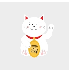 Lucky cat sitting and holding golden coin vector image