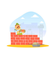 Male builder laying bricks in wall construction vector