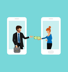 man passes woman money through smartphone online vector image