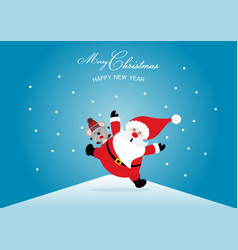 merry christmas and happy new year with santa vector image