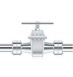 metal chrome pipe with flange and valve vector image vector image