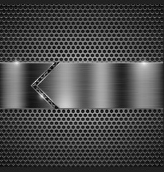 Metal perforated background with iron shiny plate vector