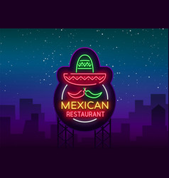 Mexican restaurant is a neon sign bright glow vector