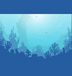 ocean underwater background with coral reef plants vector image