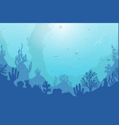 Ocean underwater background with coral reef plants vector