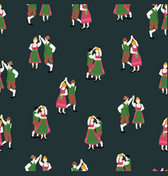 oktoberfest dancing couple drawing seamless vector image