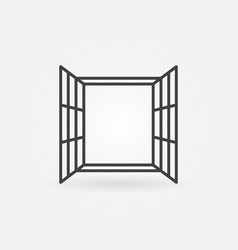 opened window line concept icon vector image