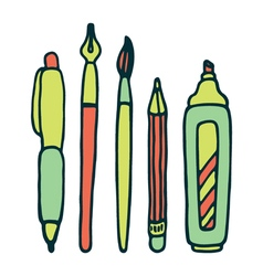 Pens pencil marker and brush set vector