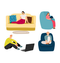 people resting at home vector image