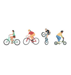 people riding bicycles various types set men vector image