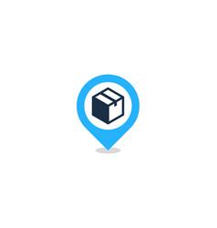 Pin box logo icon design vector
