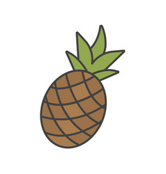 Pineapple color icon vector