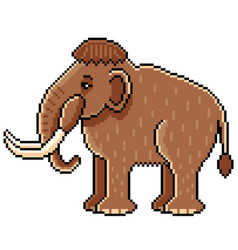 pixel cute mammoth detailed isolated vector image