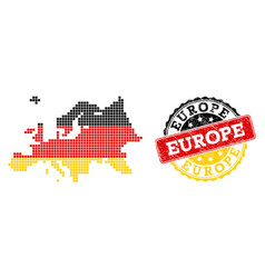 pixelated map of europe colored in german flag vector image