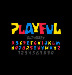 playful style font design colorful childish vector image