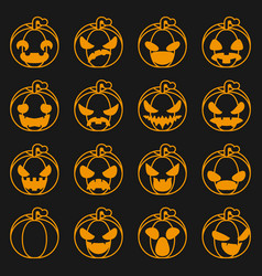 pumpkin icons set halloween decoration scary faces vector image