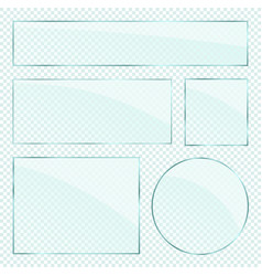 realistic glass plates layers set on vector image