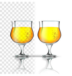 realistic glass with apple cider or beer vector image