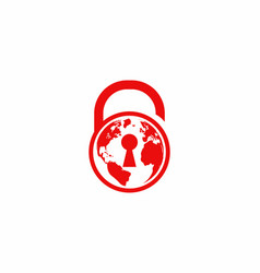 red globe and padlock vector image