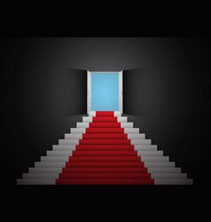 Red white stair door open top dark room 3d vector