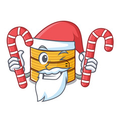 Santa with candy wooden steamed food container on vector