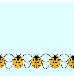 Seamless decorative border from flat ladybugs vector image