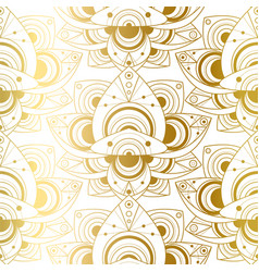 Seamless pattern with natural golden lotus art vector