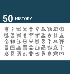 Set 50 history icons outline thin line icons vector