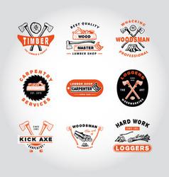 set of badge woodworking vector image