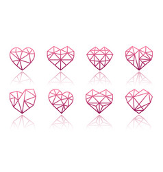 set polygonal linear heart symbols vector image