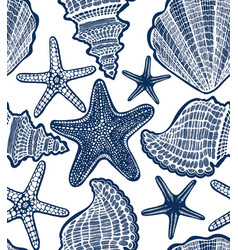 Shell and starfish seamless hand drawn pattern vector