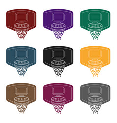 shield with basketbasketball single icon in black vector image