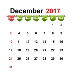 Simple calendar 2017 year december month vector