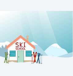 ski school advertisement layout vector image