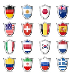 Soccer Flags on Shields vector