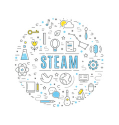 Steam education approach concept line vector