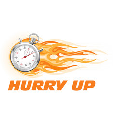 stopwatch in flame - hurry up banner limited time vector image