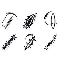 Suture icons set simple style vector