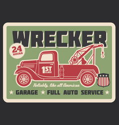 Truck wrecker vintage banner auto service design vector