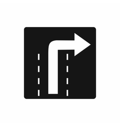 Turn right traffic sign icon simple style vector image