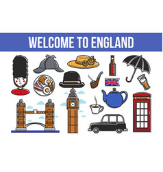 welcome to england promotional poster with vector image