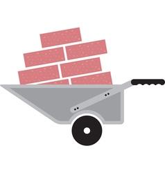 wheelbarrow with bricks vector image