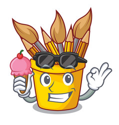 With ice cream character pot pencil above wood vector
